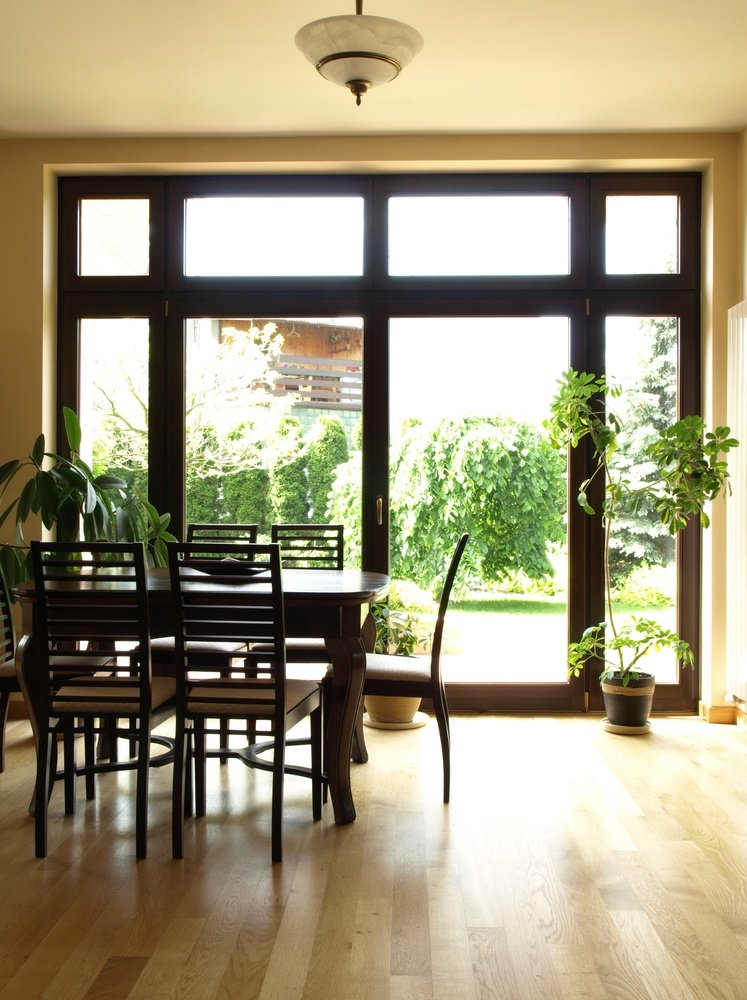 Interior of dining room overlooking the garden